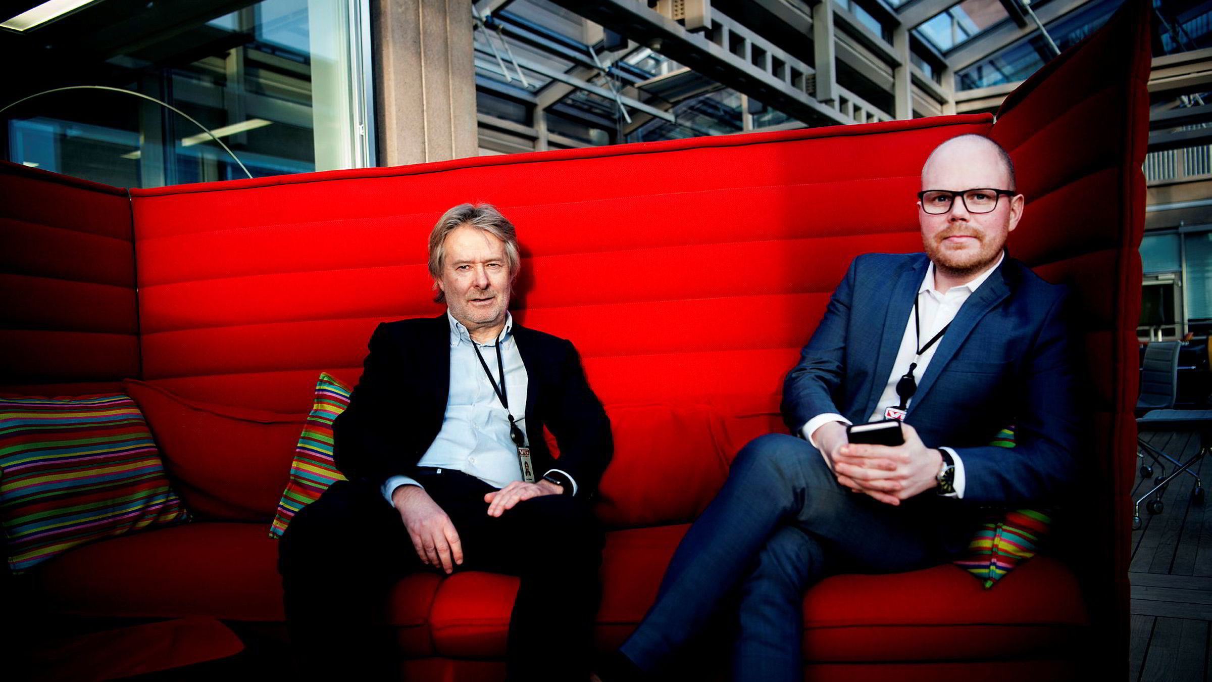 Torry Pedersen (til venstre) blir ny styreleder i Schibsted. Gard Steiro blir publisher i VG, det vil si både ansvarlig redaktør og administrerende direktør.