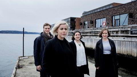 Erlend Hjertø (23, fra venstre), Caroline Strømme (26), Lauren Guido (22) og Anette Gutterød (23) utgjorde et tverrfaglig studentteam som i høst gjennomførte et bærekraftsprosjekt for Orkla.
