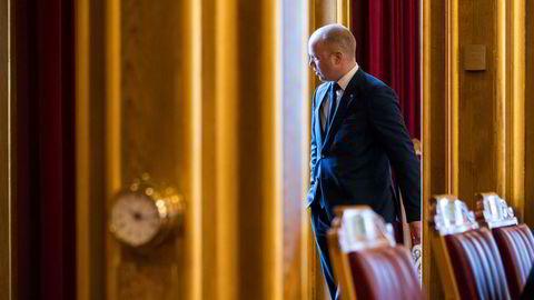 Leder i Senterpartiet (Sp) Trygve Slagsvold Vedum i den muntlige spørretimen i Stortinget tidligere denne måneden.