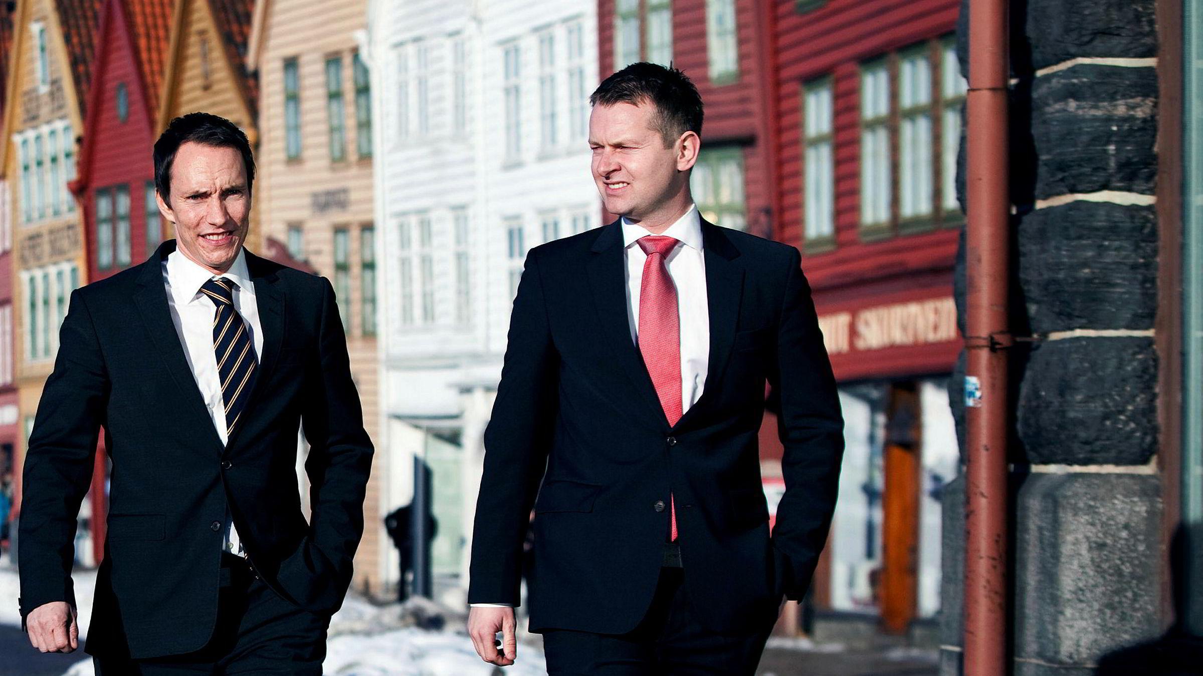 Erik Egenæs (til venstre) og Endre Tangenes startet meglerhuset Nordic Securities i 2010. Egenes er styreleder i systemet som måtte tilføre mer penger til meglerhuset i fjor.