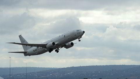 En P-8-Poseidon avbildet i Perth i Australia 16. april 2014, da den skulle bistå med å finne Malaysia Airlines-flyet som forsvant sporløst.