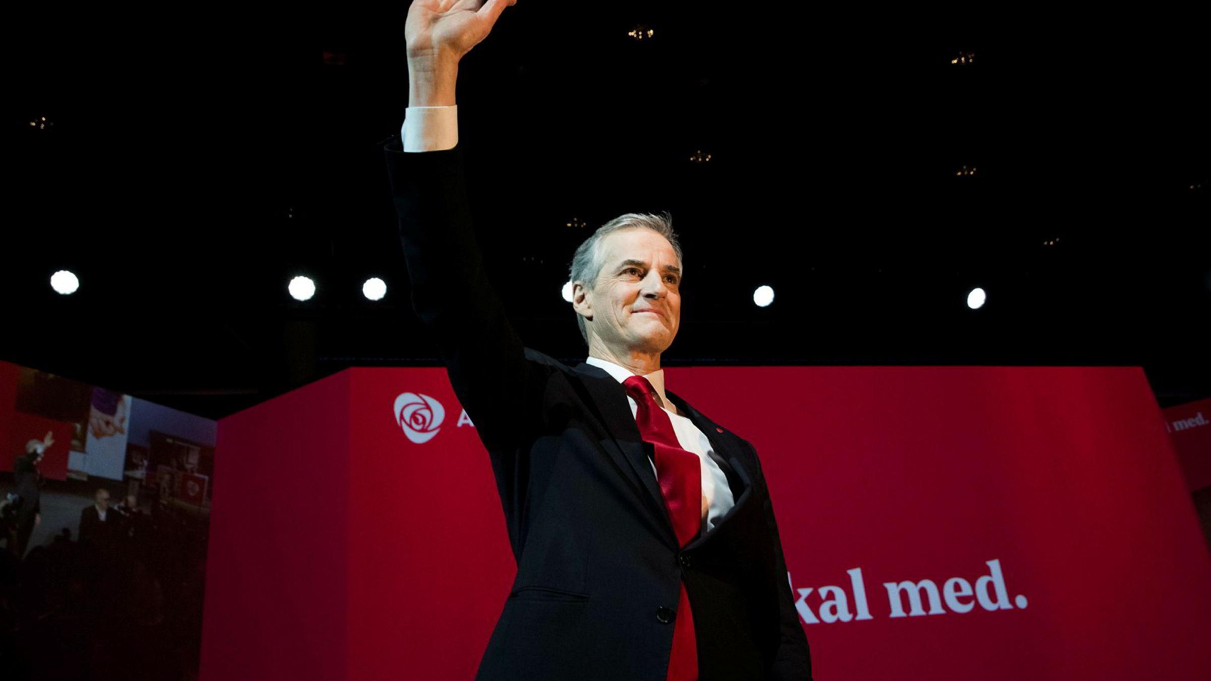 Partileder Jonas Gahr Støre på landsmøtet til Arbeiderpartiet.