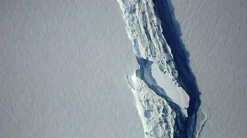 En 200 kilometer lang sprekk har nesten delt isflaket fra resten av isbremmen Larsen C på Antarktishalvøya.