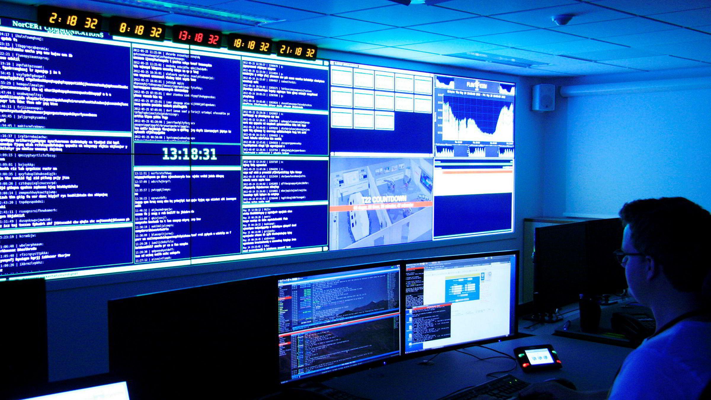 Operasjonssentralen til Nasjonal sikkerhetsmyndighet (NSM) i Oslo.