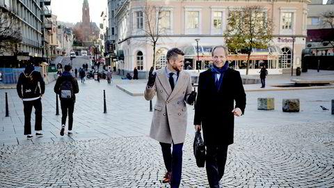 It-gründer Henrik Lie-Nielsen (til venstre) og finansmann Harald Mowinckel Troye etablerer investorfellesskapet Tripod, som skal hjelpe gründervirksomheter med kapital, kompetanse og vekst.