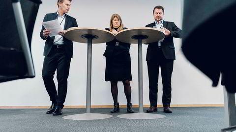 Statoil-toppene tok selvkritikk da to granskningsrapporter ble lagt frem fredag. Fra venstre Jens Økland, Margareth Øvrum og Geir Tungesvik. De to sistnevnte har ansvar for boreoperasjonene.