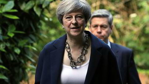 Storbritannias statsminister Theresa May, her på vei til gudstjeneste i Berkshire, England, søndag forrige uke.