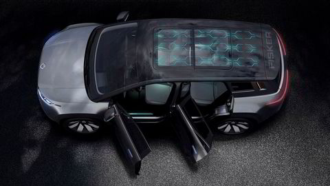 Fisker Ocean er 4,64 meter lang og har et solcellepanel på hele bilens tak. Det skal gi 1600 ekstra gratis kilometer i året.