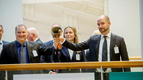 Produksjonsdirektør Rune Eriksen, administrerende direktør Hilde R. Storhaug og styreleder Christian Riber i Norcod, som ble notert på Merkur Markets torsdag forrige uke.