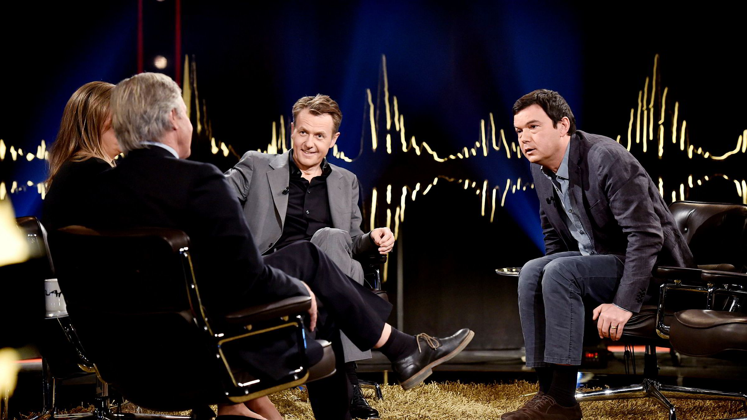 I 2015 møtte samfunnsøkonomen Thomas Piketty (til høyre) Norwegian-sjef Bjørn Kjos på «Skavlan».