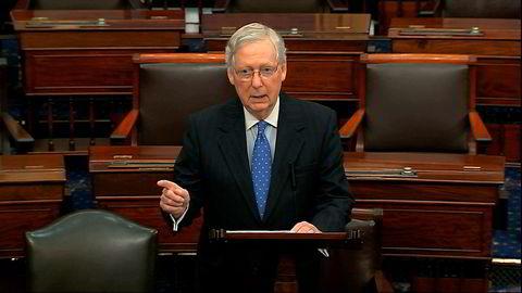 Flertallslederen i Senatet, Mitch McConnell, kalte torsdag riksrettssaken mot president Trump forhastet og urettferdig. Foto: AP / NTB Scanpix