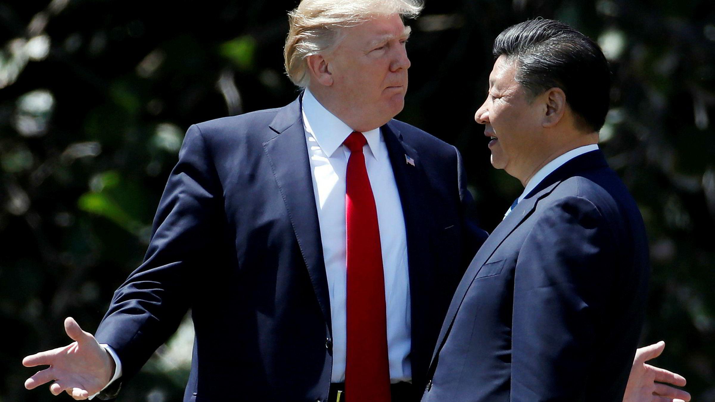 USAs president Donald Trump sammen med Kinas president Xi Jinping.