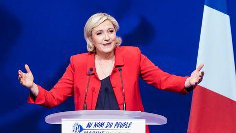 Marine Le Pen under et valgkampmøte i Paris tidligere denne måneden.