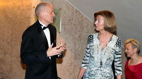 Gunn Wærsted og Sigve Brekke møter pressen i dag. Lørdag var de to sammen på Nobels Fredspris festmiddag på Grand Hotel i Oslo.