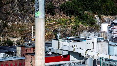 Kanskje kan statsministerens signaler om en mulig statlig redningsaksjon være det som berger fabrikkene i Halden og på Skogn? spør artikkelforfatteren. Her fra Norske skog Saugbrug i Halden.
