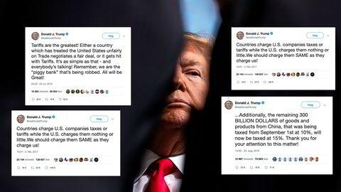 Noen av Twitter-meldingene fra den amerikanske presidenten Donald Trump om handelskrigen, som har gitt et negativt resulatet på markedene i følge studenter på NTNU.