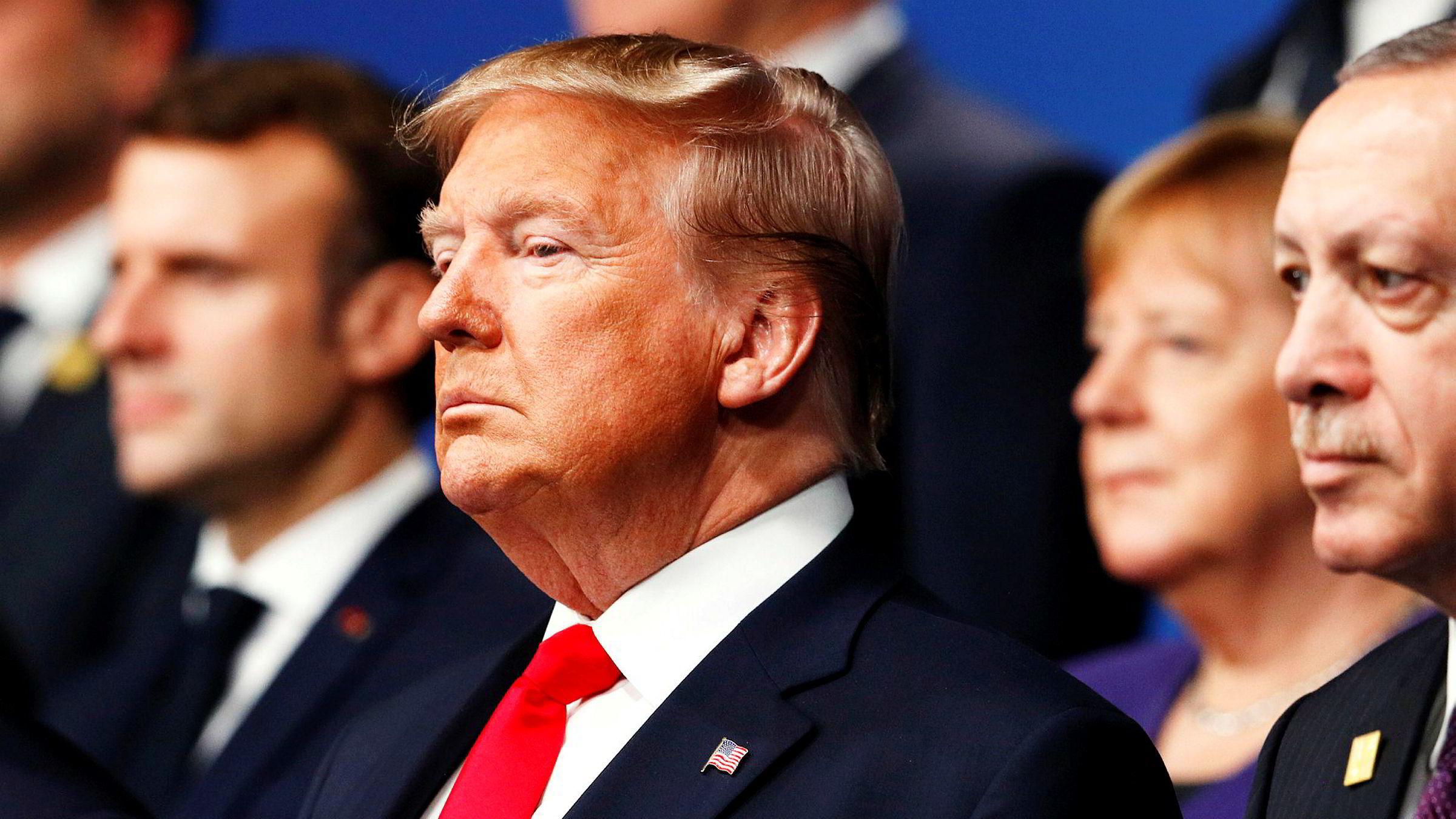 Presidentene Emmanuel Macron, Donald Trump og Recep Tayyip Erdogan satte dagsorden på Natos 70-årsfeiring i London tirsdag og onsdag. Forbundskansler Angela Merkel var også med i bakgrunnen.