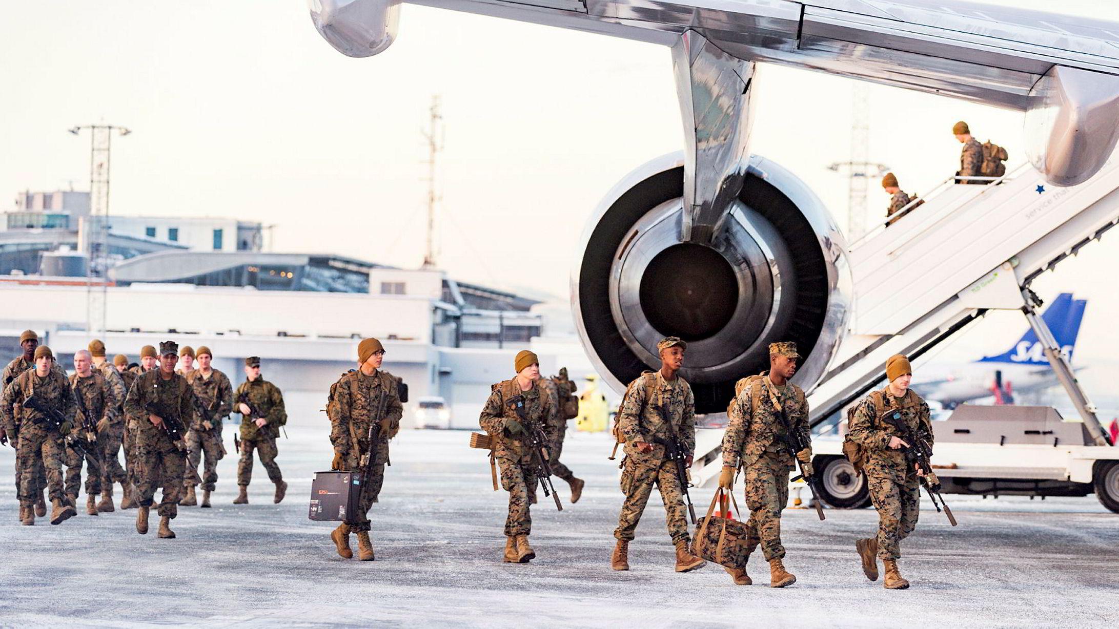 Et 747-fly med 300 soldater fra det amerikanske marinekorpset (USMC) landet på Værnes i januar.