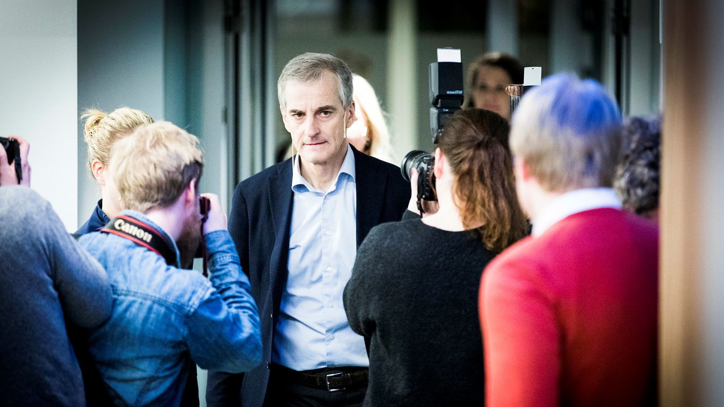 Ap-leder Jonas Gahr Støre fra tirsdagens pressekonferanse etter partiets ekstraordinære sentralstyremøte om Trond Giske.