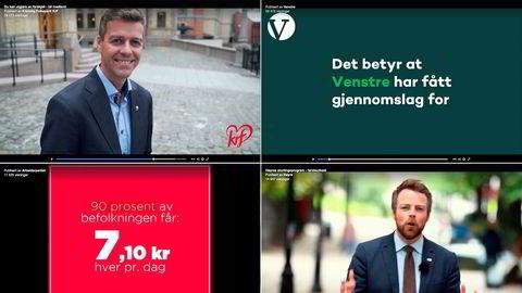 Norske politikere og partier bruker blant annet Facebook til å reklamere for sine politiske budskap. På vanlige tv-kanaler er ikke dette lov.