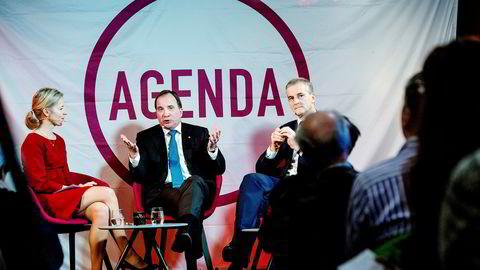 Tirsdag møtte Ap-leder Jonas Gahr Støre (til høyre) Sveriges statsminister Stefan Löfven til frokostmøte i regi av Tankesmien Agenda. Her er de sammen med Agendas Marte Gerhardsen.