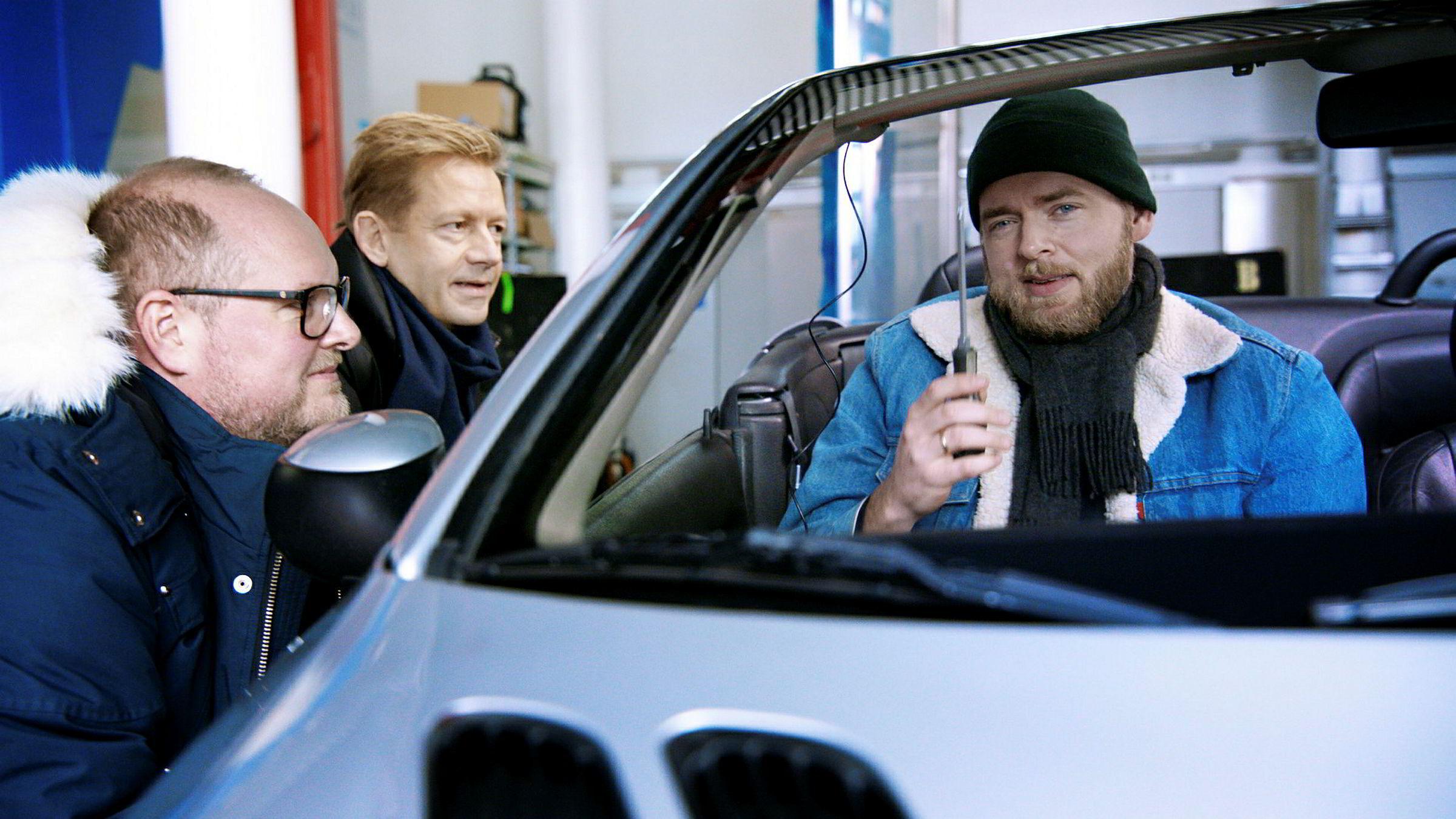 NRK har hanket inn de populære «Radioresepsjonen»-programlederne Steinar Sagen (fra venstre), Bjarte Tjøstheim og Tore Sagen til sin dab-kampanje.