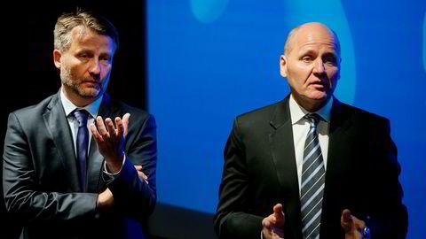 – Med denne transaksjonen har vi fullført vårt nedsalg i Veon, sier finansdirektør Jørgen C. Arentz Rostrup i Telenor (til venstre). Her sammen med konsernsjef Sigve Brekke under Telenors kvartalspresentasjon i juli.