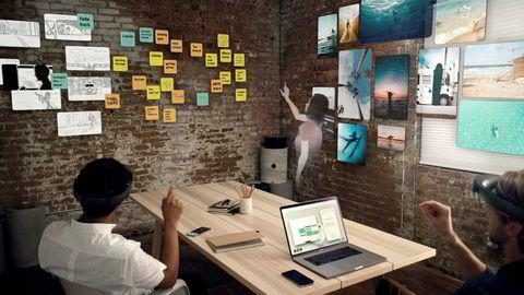 I et virtuelt arbeidsrom kan alle vegger bli en tavle eller en skjerm, og alle rom kan bli et møterom, skriver artikkelforfatterne.