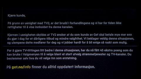 Dette var meldingen på TV-skjermene til Get-kundene 1. juni. Nå er det blitt enighet om en midlertidig avtale
