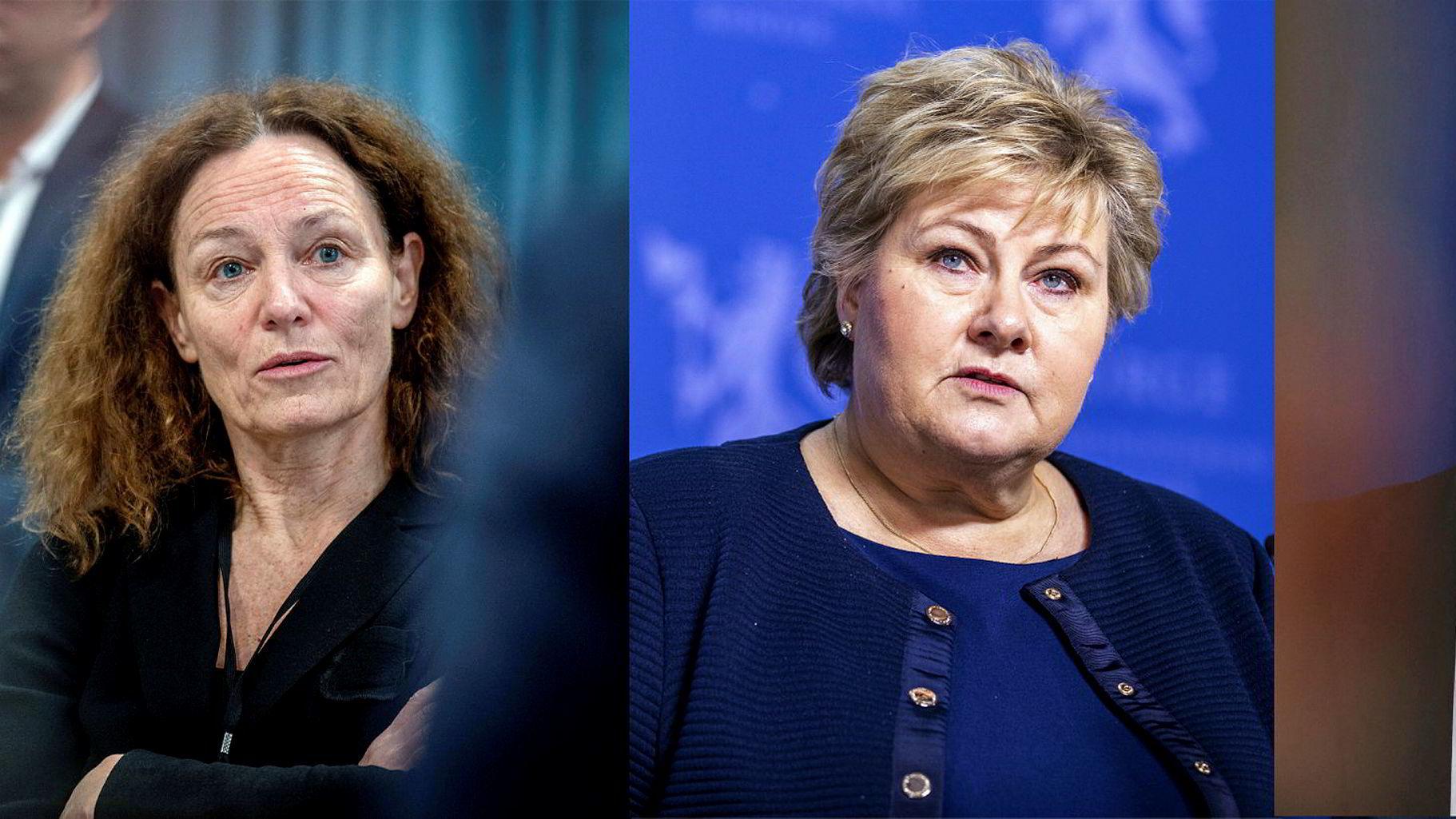 Krisetrioen som utgjør Norges «sterke mann»: Direktør Camilla Stoltenberg i Folkehelseinstituttet, statsminister Erna Solberg og fungerende assisterende direktør Espen Nakstad i Helsedirektoratet.