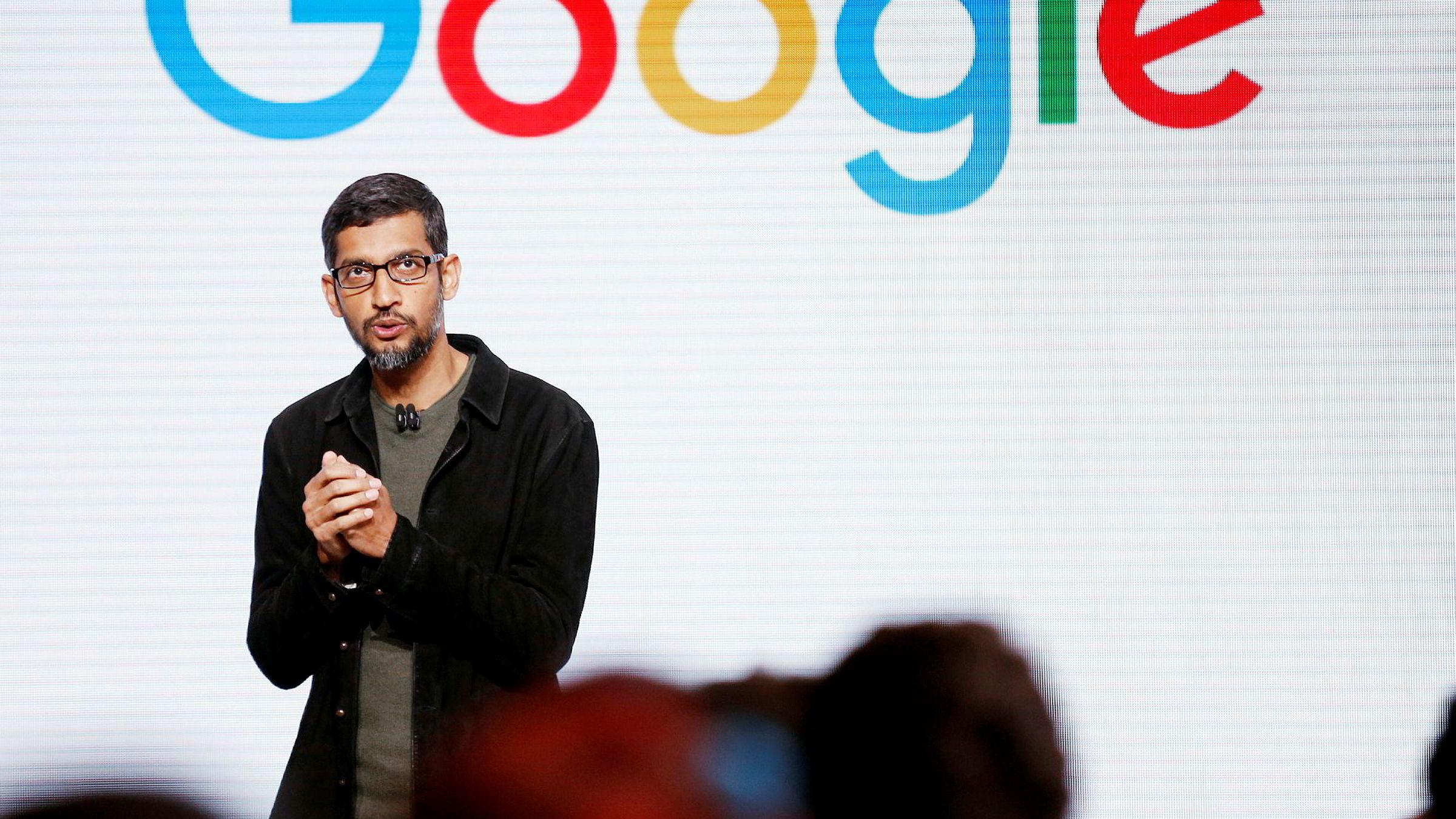 Google-sjef Sundar Pichai nesten doblet lønn- og godtgjørelse i fjor.