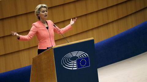EU-kommisjonens president Ursula von der Leyen holdt i Brussel sin første tale om unionens tilstand. Klima sto høyt på agendaen.