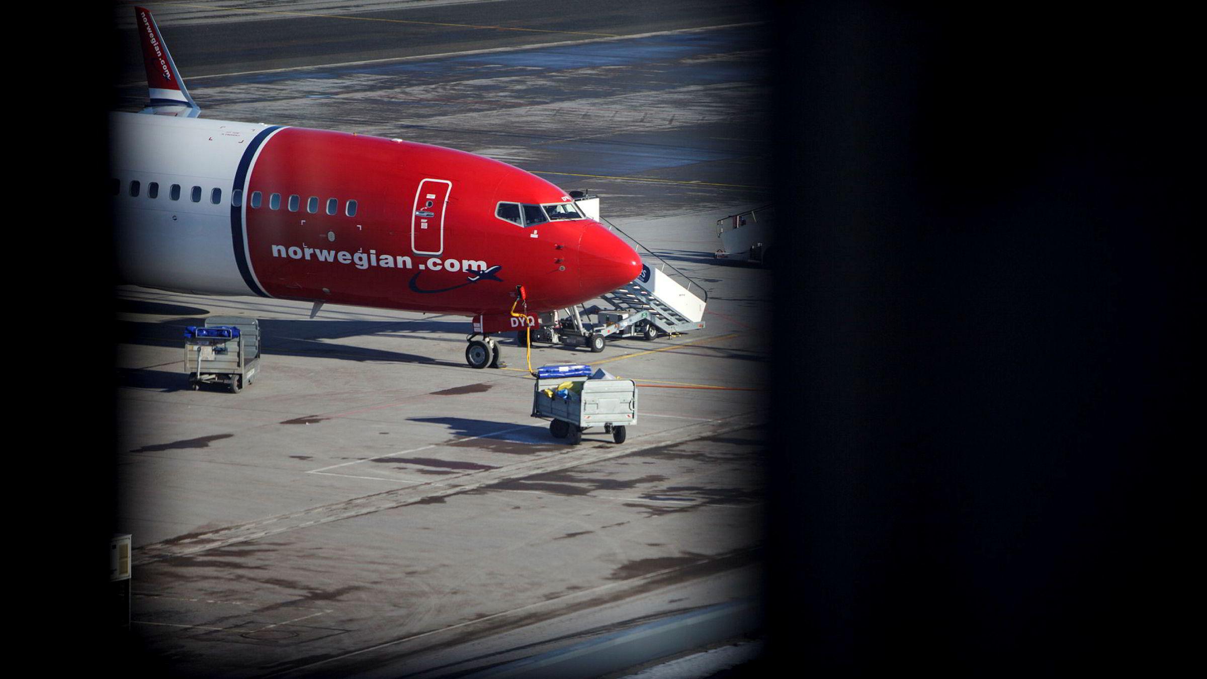 Norwegians trafikktall for mai viser at inntektsnivået faller videre. Her fra Oslo lufthavn.