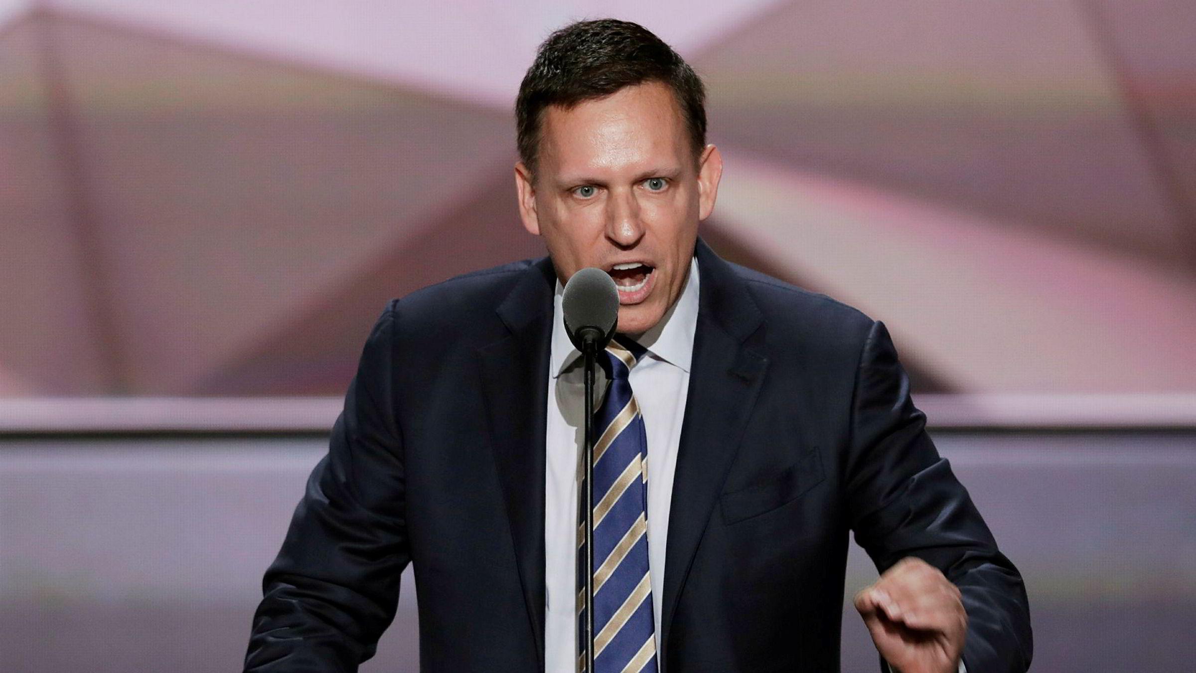 Investor og Trump-rådgiver Peter Thiel snakker under republikanernes landsmøte i juli 2016.