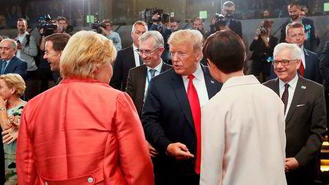 Donald Trump møtte statsminister Erna Solberg og utenriksminister Ine Eriksen Søreide i Brussel denne uken.