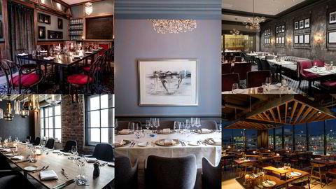 Et eget rom? Disse, og minst 31 andre restauranter i Oslo har chambre séparée. Fra venstre øverst: Brasserie Ouest, Statholdergaarden (i midten) Grand Hotel, Festningen og Vaaghals (nederst til høyre).