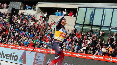 Martin Johnsrud Sundby har vunnet femmilen i Holmenkollen to år på rad. Her fra seieren i mars.