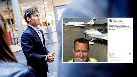 Hotelltoppene Eirik Bogsnes (innfelt) og Petter Stordalen fløy hvert sitt fly til Linköping.