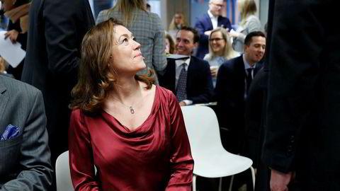 Konsernsjef i Schibsted Kristin Skogen Lund la frem Schibsteds resultat for fjerde kvartal 2019, med negativ resultatutvikling for nyhetssegmentet.