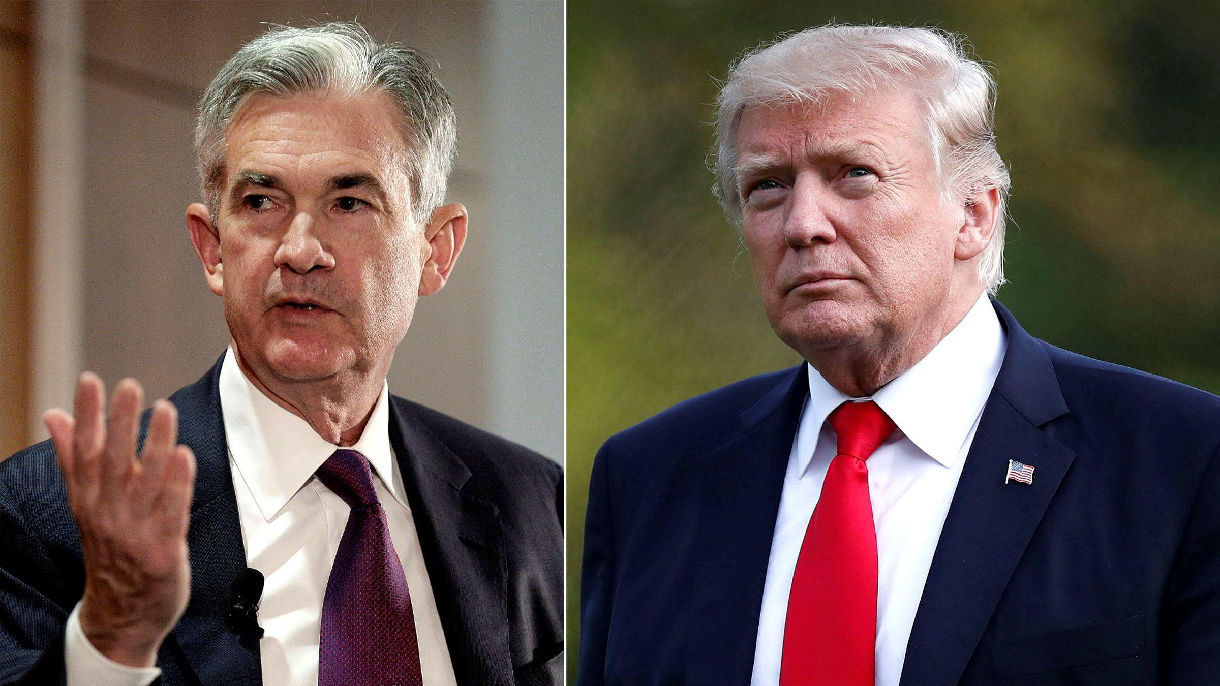 Det er ventet at Fed-styremedlem Jerome H. Powell (til venstre) blir presentert som ny sentralbanksjef av USAs president Donald Trump. Foto:
