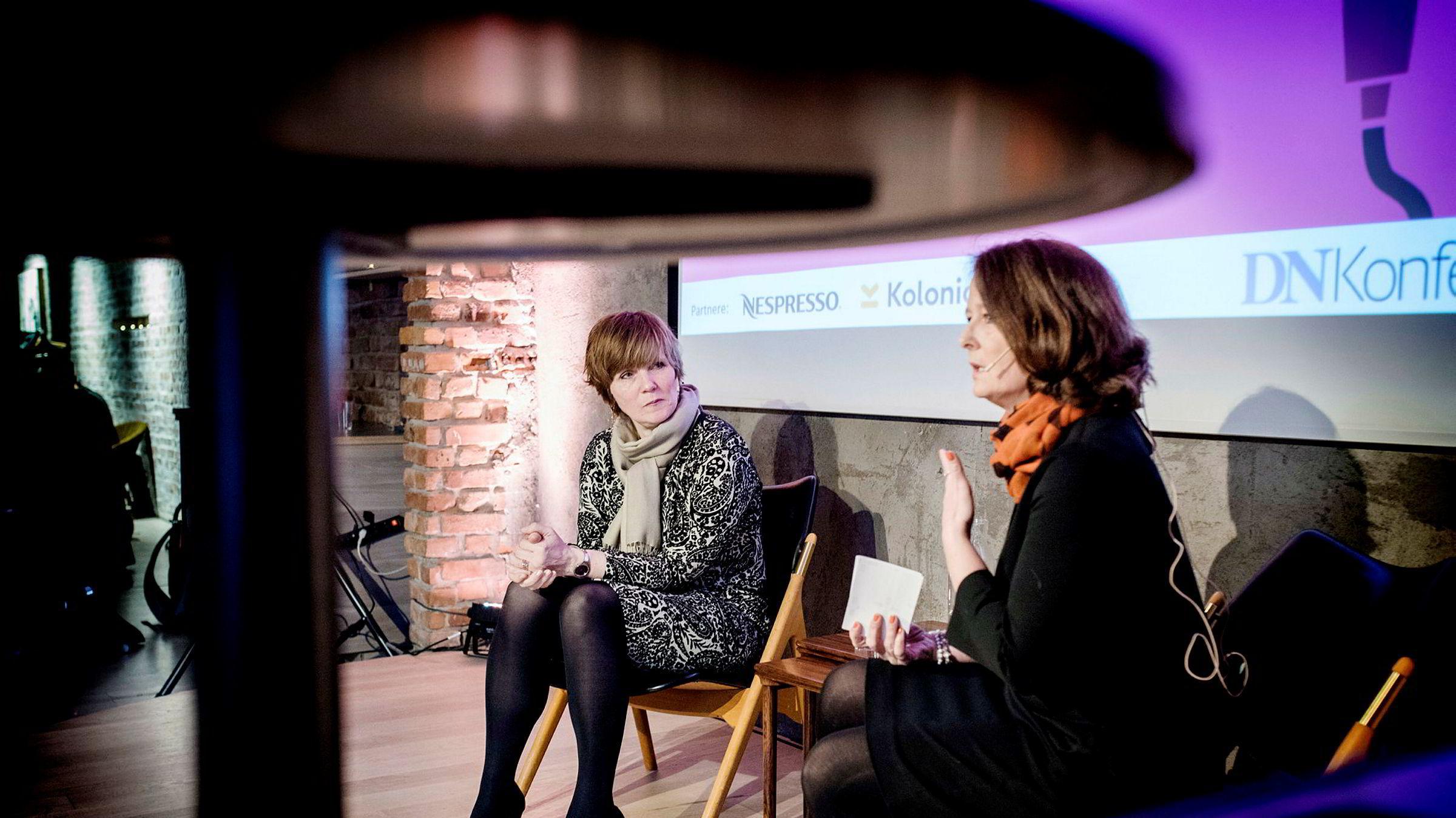 Under frokostseminaret DN Live i Oslo onsdag, der Christine Meyer ble intervjuet av DN-kommentator Eva Grinde (til høyre), karakteriserte SSB-direktøren innvandringsregnskapet som «et sårt punkt».