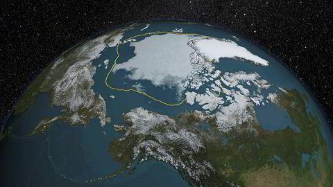 Mye galt skjer på planeten vi bor på , ifølge ny rapport. Bildet viser utbredelsen av is i arktis på sommeren i 2015, mens den gule sirkelen viser gjennomsnittet for årene 1981-2000.