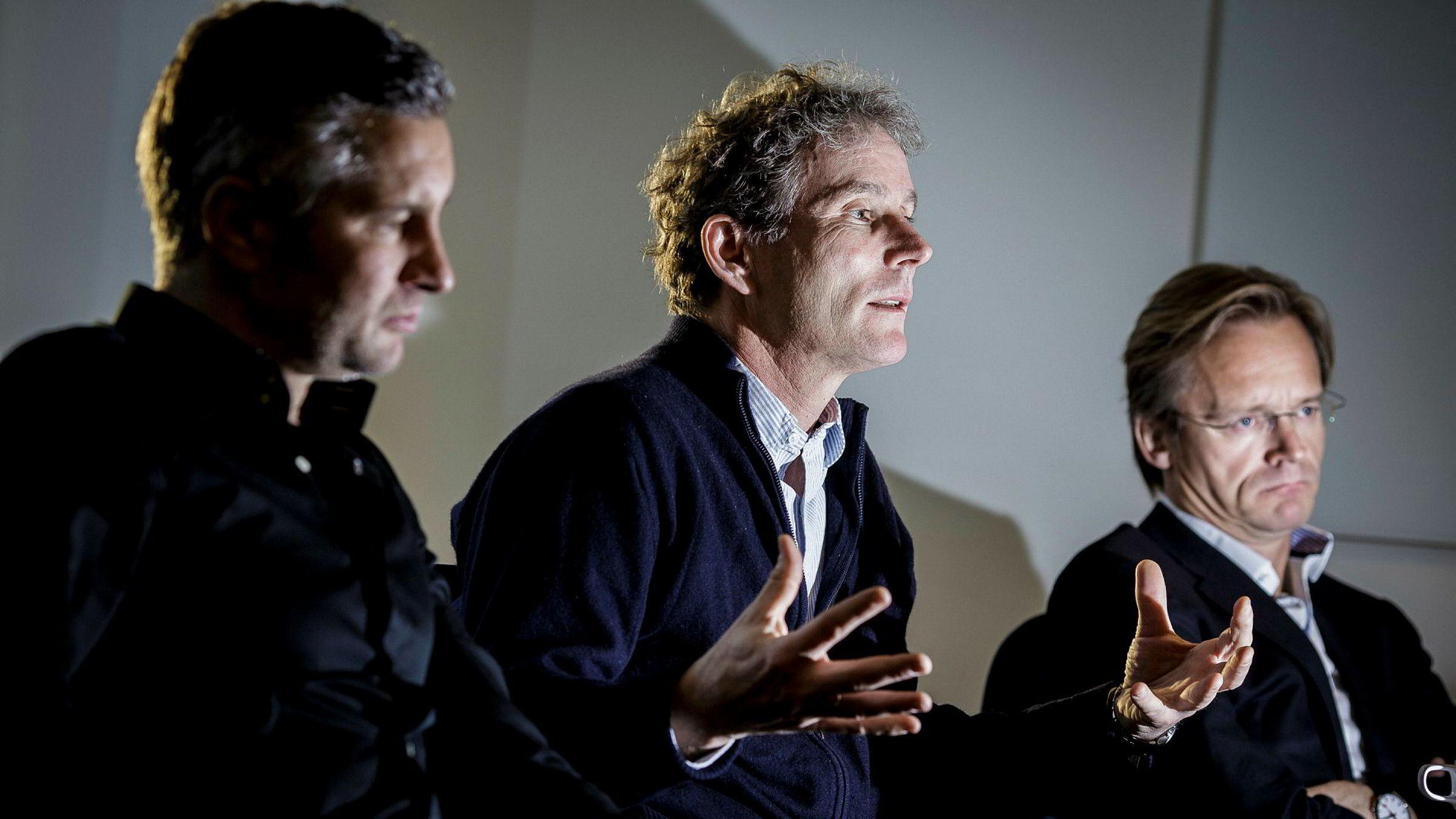 Medgründer og partner Tellef Thorleifsson i Northzone har søkt på stillingen som ny Norfund-sjef. På bildet sammen med Northzone-gründerne Torleif Ahlsand (til venstre) og Bjørn Stray.