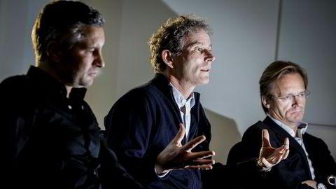 Medgründer og partner Tellef Thorleifsson (midten) i Northzone blir ny Norfund-sjef. På bildet sammen med Northzone-gründerne Torleif Ahlsand (til venstre) og Bjørn Stray.