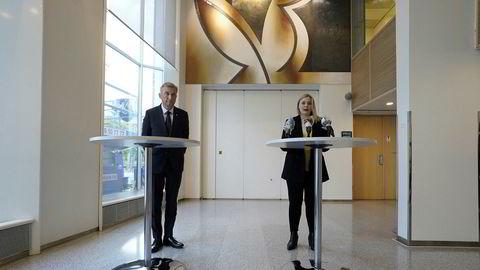 Olje- og energiminister Tina Bru møtte pressen sammen med styreleder Jon Erik Reinhardsen etter eiermøte mandag ettermiddag.
