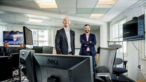 Infront-gründerne Morten Lindeman (til venstre) og Kristian Nesbak selger seg ned med en tredjedel når selskapet kommer på Børsen i slutten av måneden.