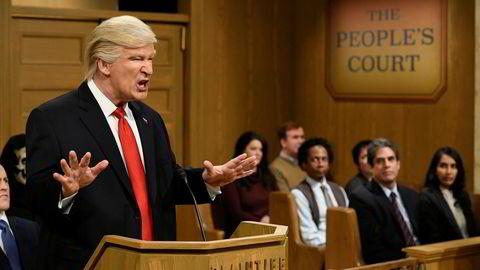 Her opptrer skuespiller Alec Baldwin som president Donald J. Trump under programmet Saturday Night Live som ble sendt 11. februar i år.