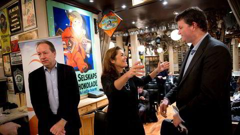 NHO-sjef Kristin Skogen Lund møtte LOs Hans-Christian Gabrielsen – den gang andre nestleder – under et Civita-arrangement i desember 2014. Hans Henrik Scheel (til venstre) er i dag finansråd i Finansdepartementet.