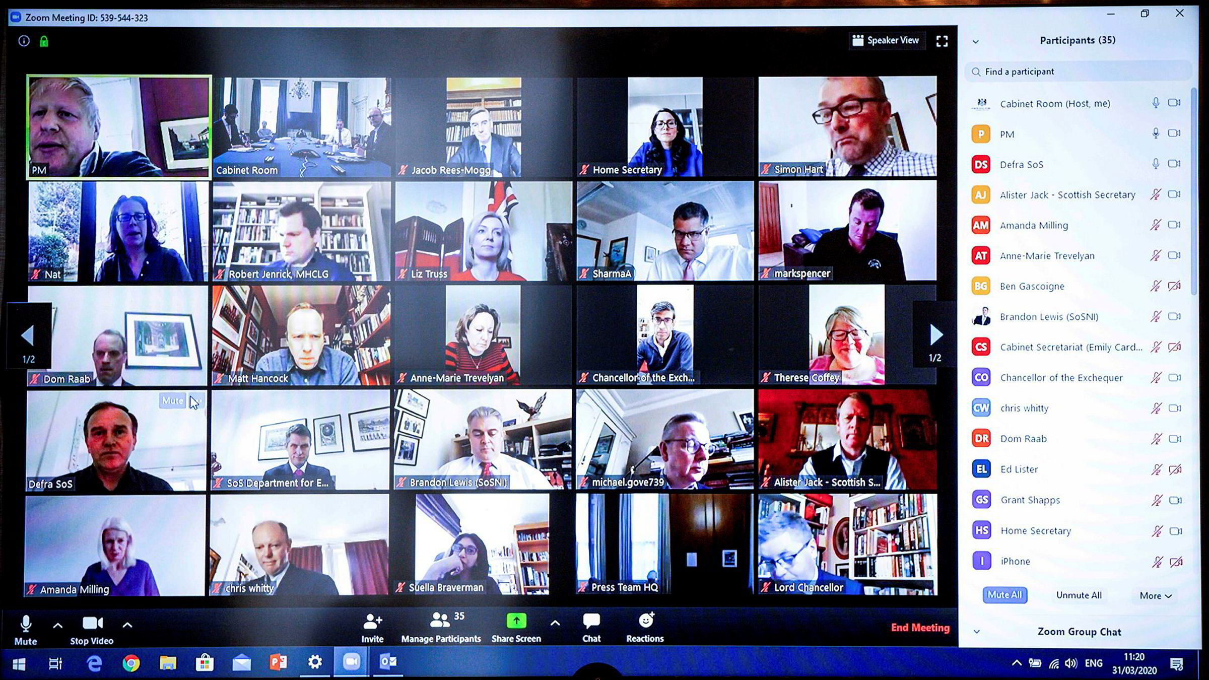 Storbritannias regjering har  videokonferanse med hjelp av videokonferanse-tjenesten Zoom.