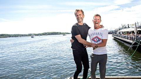 Jan Fredrik Karlsen har ingen planer om å gjøre comeback som talentdommer på tv. Nå har han nok å gjøre som kreativ leder i eventselskapet All-in. Her sammen med daglig leder Jens Nesse på Aker Brygge i Oslo.